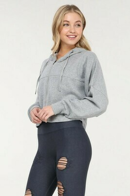 Crop Hoodie Pullover with Zippered Back Pocket