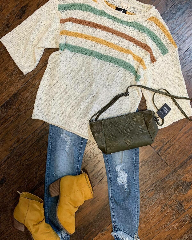 POL Stripe Summer Sweater