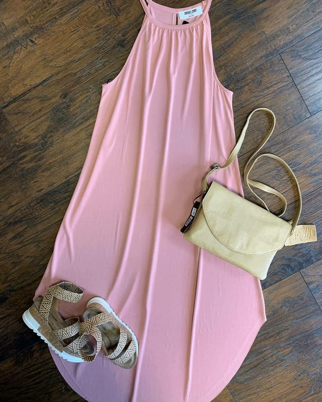SCOOP BOTTOM SLEEVELESS DRESS WITH BACK KEYHOLE