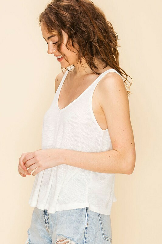 V NECK FLARED TANK TOP- OFF WHITE
