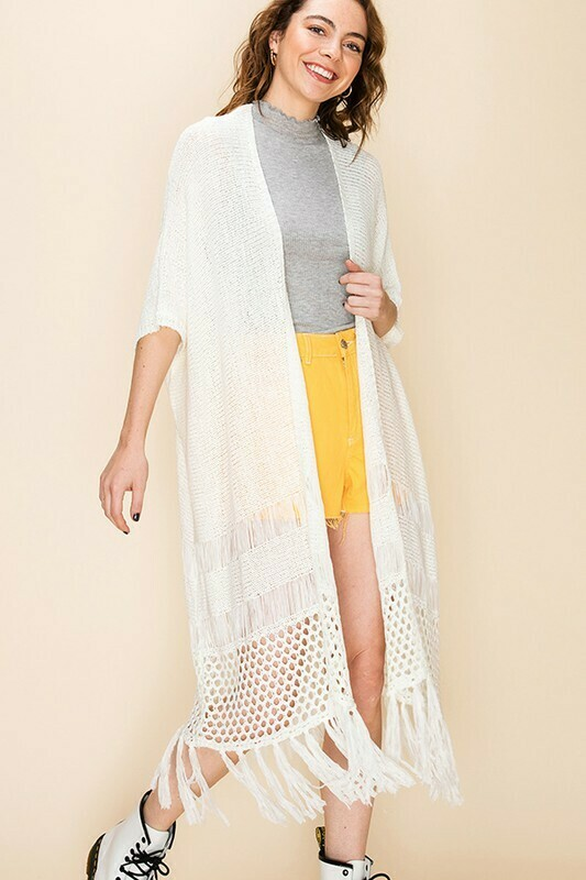 KNITTED DUSTER WITH TASSELS