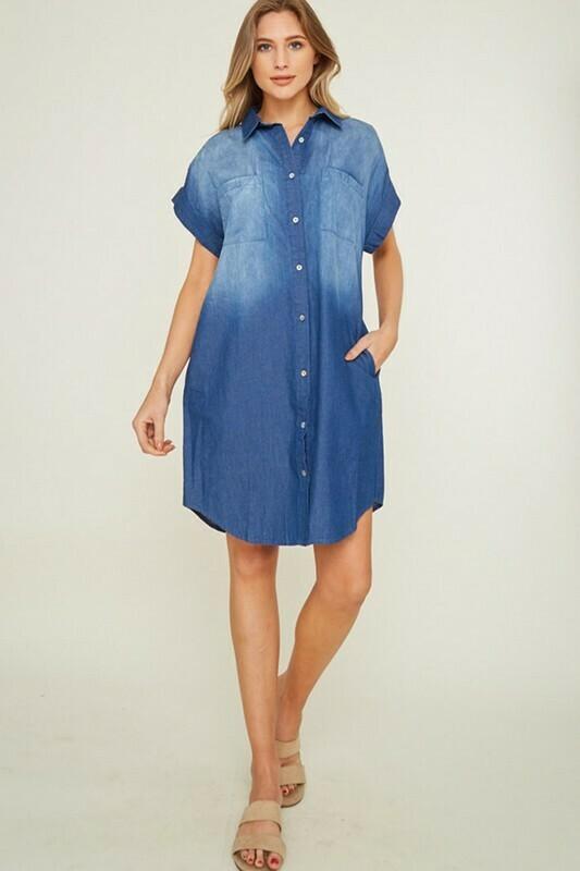 DENIM COLLAR SHIRT DRESS