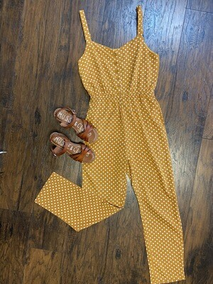 Polka Dot Button Down Jumpsuit