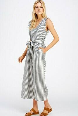 Linen Sleeveless Stripe Jumpsuit