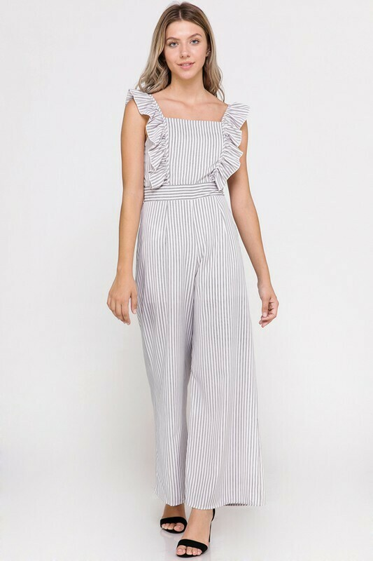 Ruffle Sleeveless Stripe Jumpsuit