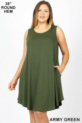 PLUS SIZE ROUND HEM SWING DRESS- Army Green
