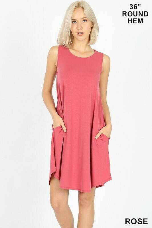 ROUND HEM SWING DRESS- ROSE