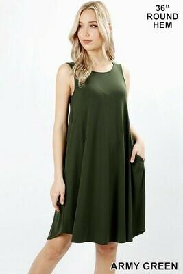 ROUND HEM SWING DRESS- Army Green