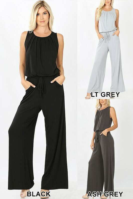 PLUS SLEEVELESS JUMPSUIT WITH POCKETS- BLACK