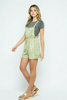 TIE DYE OVERALL FRENCH TERRY CINCHED WAIST ROMPER