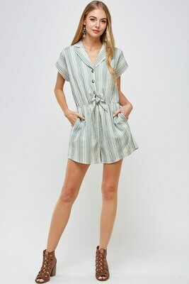 Stripe Short Sleeve Romper with Front Tie