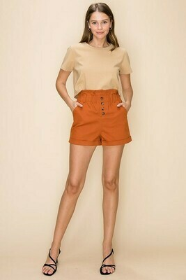 BUTTON DOWN PAPERBAG SHORT