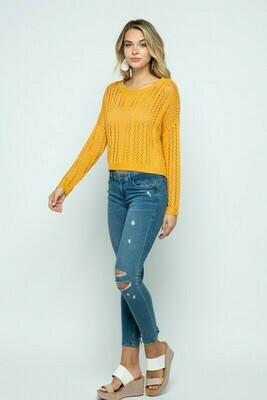 Eyelet knit pullover sweater