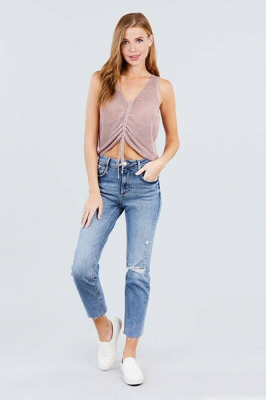 SLEEVELESS V-NECK w/RUCHED DETAIL SWEATER TOP
