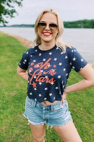 Oh My Stars on a blue star cropped tee