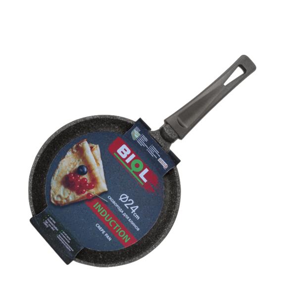 Сковорода блинная Гранит Грей, 24 см, с пластиковой ручкой c индукционным дном, арт. 24084I