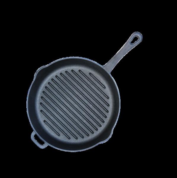 Сковорода-гриль чугунная, круглая, диаметр 24 см, с литой ручкой, арт. 1124