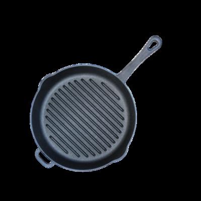 Сковорода-гриль чугунная, круглая, диаметр 28 см, с литой ручкой, арт. 1128