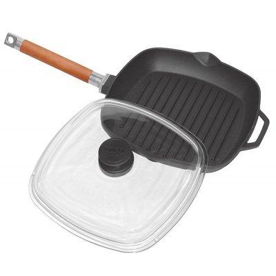 Сковорода-гриль чугунная со стеклянной крышкой, 28 см., арт. 1028С