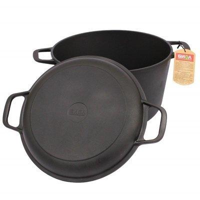 Кастрюля чугунная литая с крышкой-сковородой 3 л, 20 см, арт. 0203
