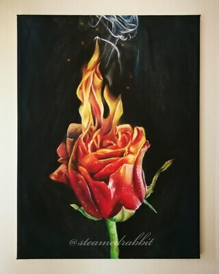 Flaming Rose Oil Painting