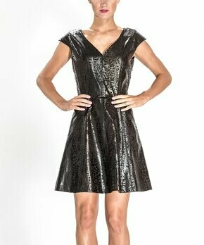 Black Leopard Faux Leather Dress Size 2