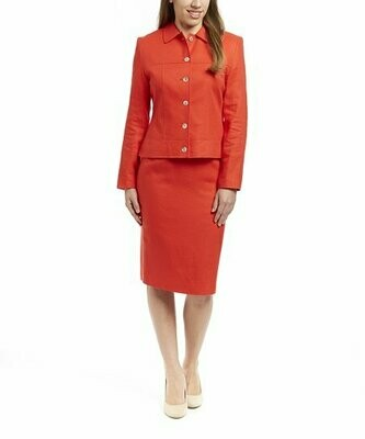 Red Linen Skirt Suit Size 6