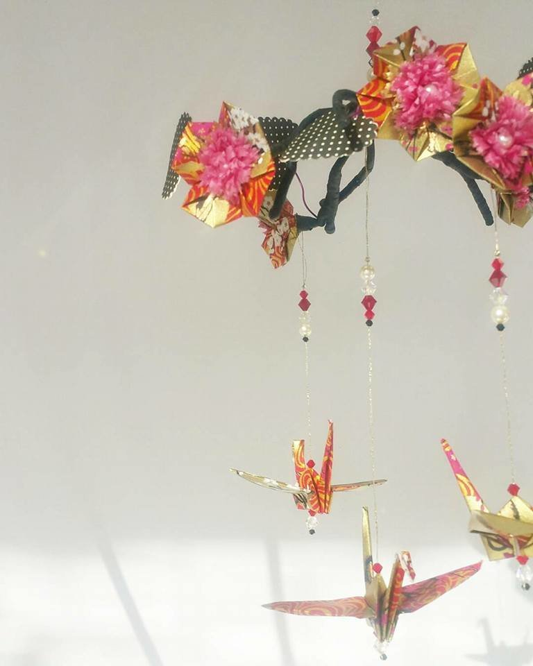 Origami crane blossom mini mobile 2 week workshop in this workshop you will learn to fold origami cranes and blossoms and construct a beautiful origami mobile mightylinksfo