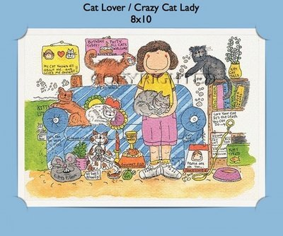 Cat Lover or Crazy Cat Lady  - Personalized Cartoon Gift