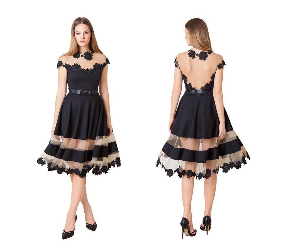 Tamno plava haljina Transparent 300418