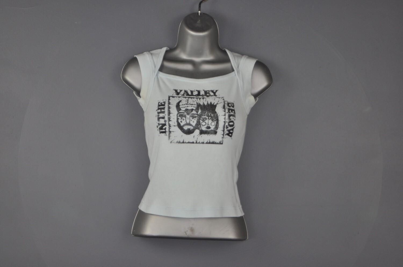 XS Vintage Block Printed Repurposed Blue Women's Tee T-Shirt