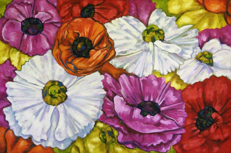 Rununculus Medley - Original Art Oil Painting