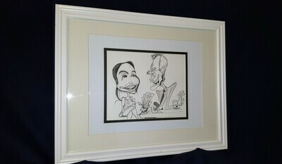 Original David Letterman Lindsay Lohan Caricature by Michael Hopkins