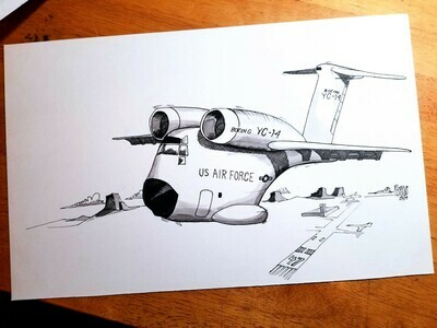 Boeing YC-14 Aviation Caricature by Michael Hopkins