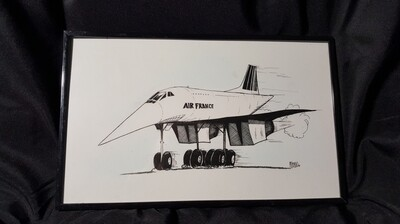 Concorde SST Aviation Caricature by Michael Hopkins