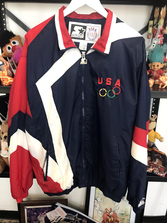 Vintage Olympic Starter USA Windbreaker Sz Large