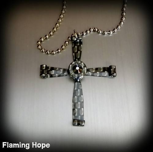 Hydrographic Dipped Bullet Casing Cross Necklace