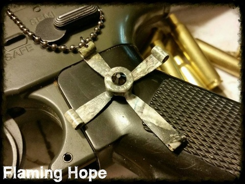 Hydrographic Dipped Bullet Casing Cross Necklace - Camo