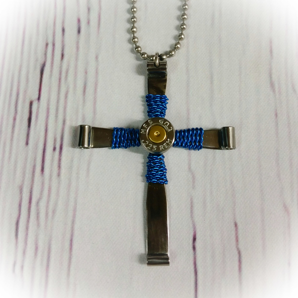 Steel Bullet Casing Cross Necklace