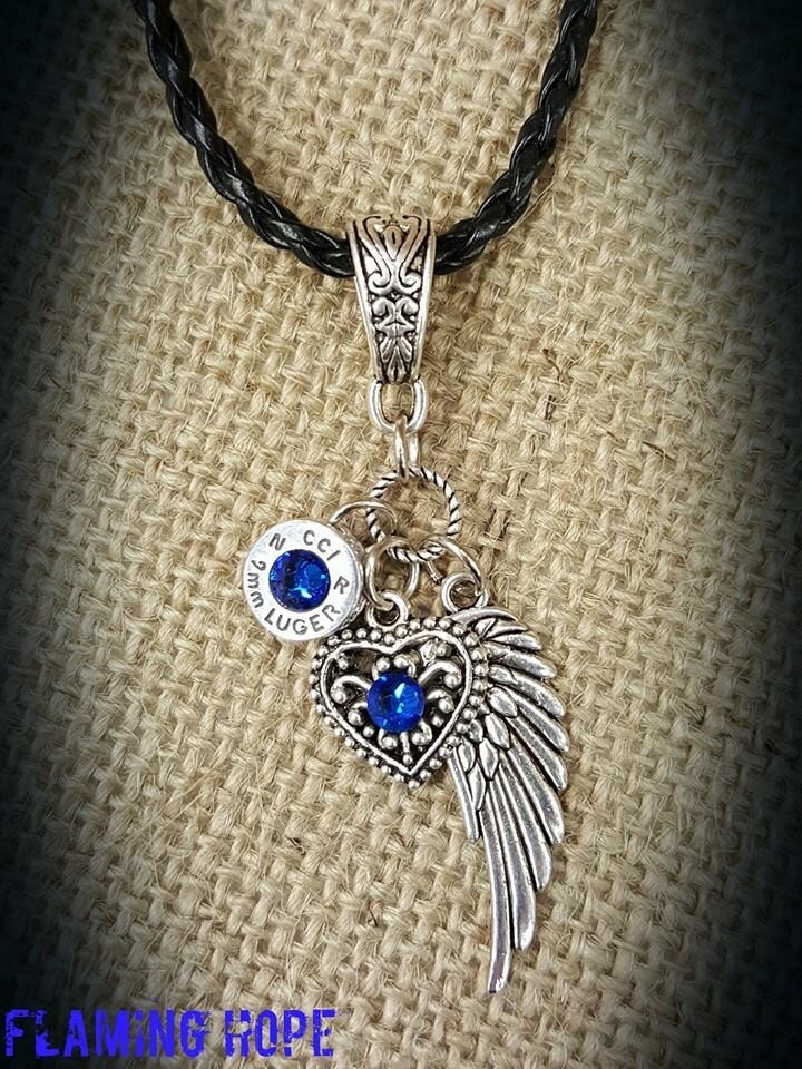 Bullet Casing Base, heart and angel wing Charm Necklace