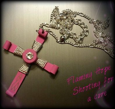 Breast Cancer Awareness Bullet Cross Necklace