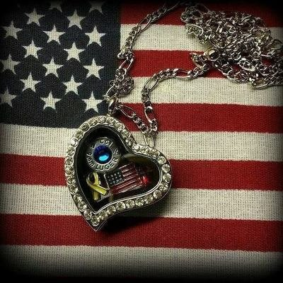 Military Heart Floating Locket with Charms