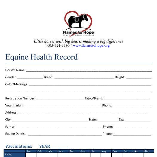 Equine Health Record