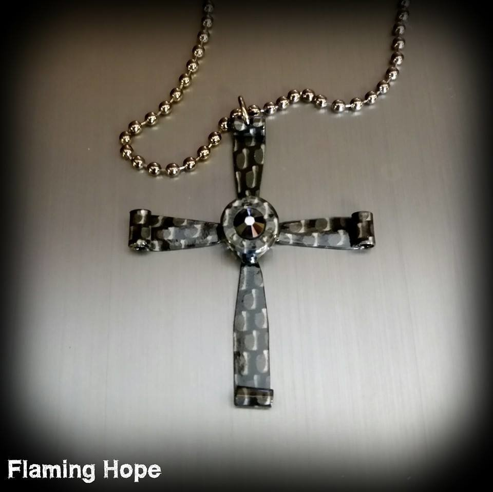 Hydrographic Dipped Bullet Casing Cross Necklace - Carbon Fiber