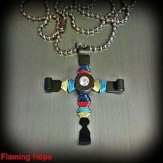Autism Awareness Bullet Cross Necklace