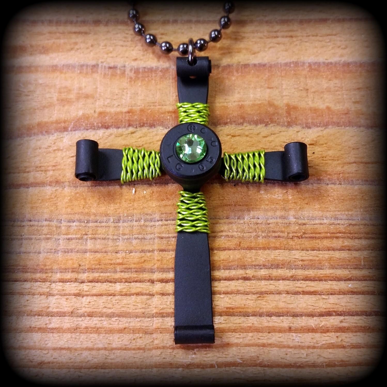 Matte Black Bullet Casing Cross Necklace