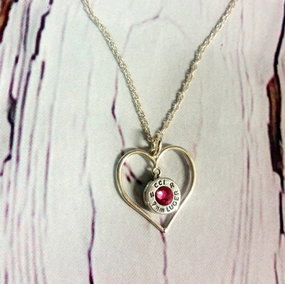 Sterling Silver Heart and Bullet Necklace