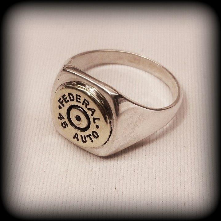 Sterling Silver Men's Bullet Ring