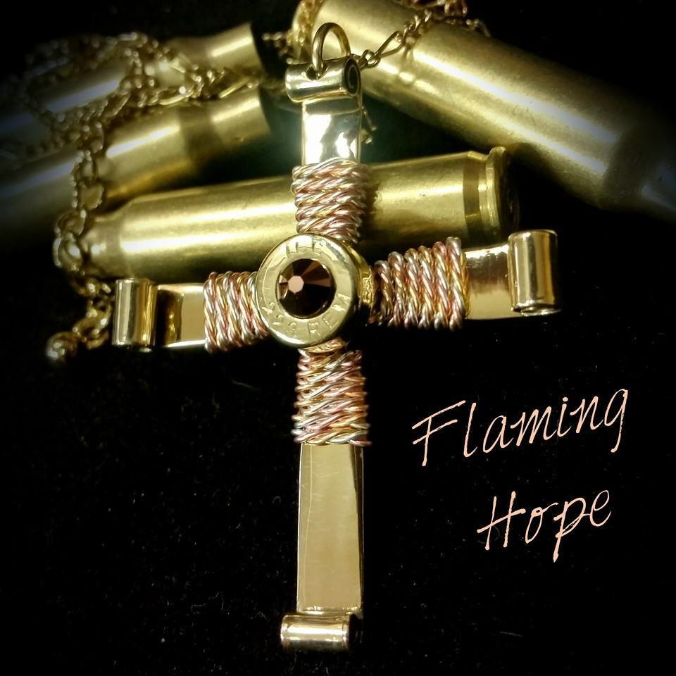 Bullet Casing Cross Tri-Gold Wire Wrap