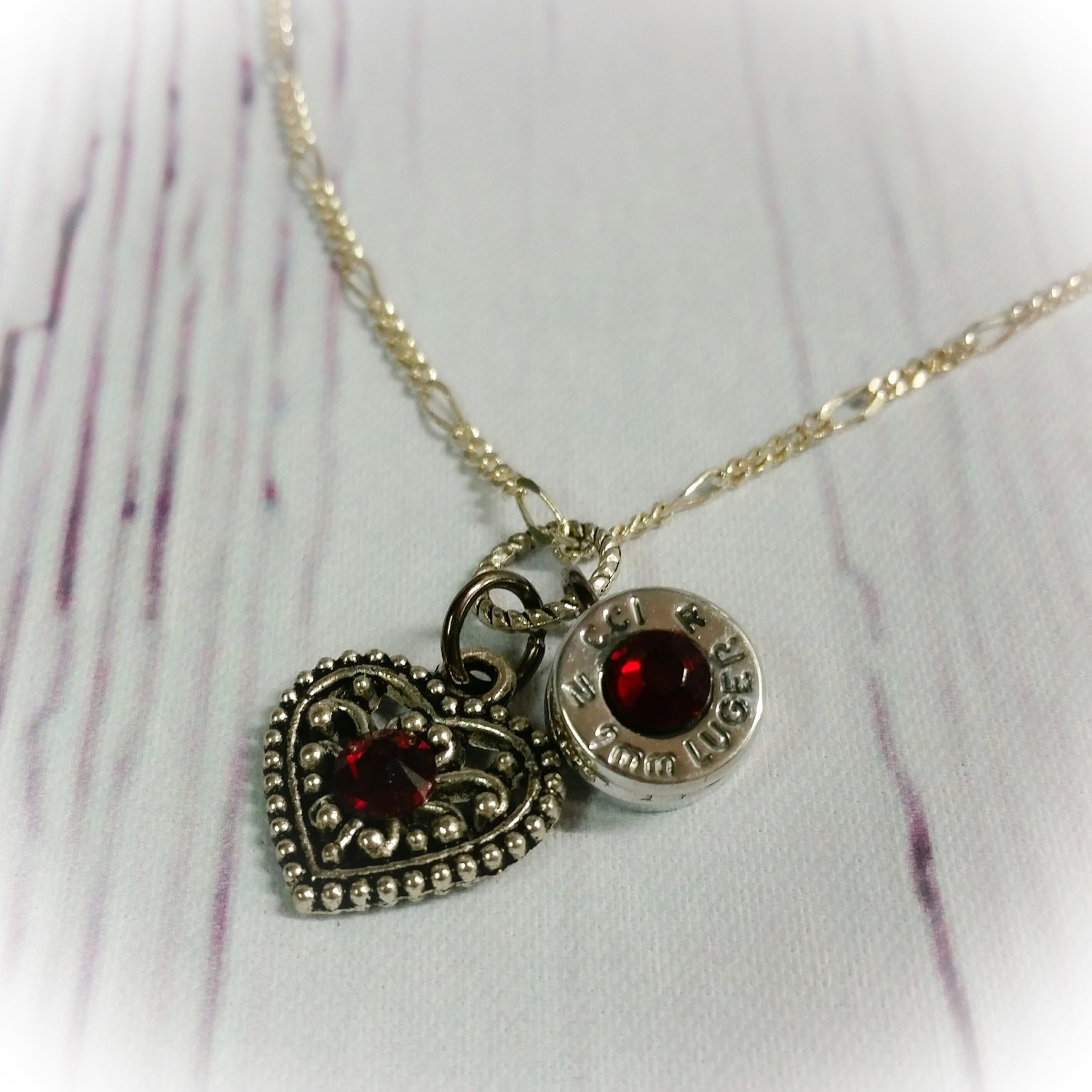 Bullet Casing Base and Heart Charm Necklace